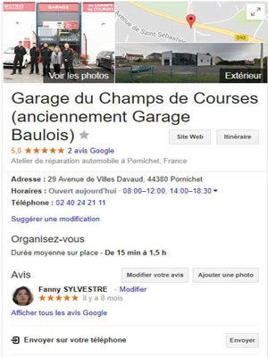 Page Google Business Garage Baulois