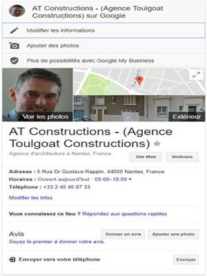 Page Google Business AT Constructions