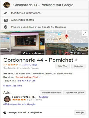 Page Google Business Cordonnerie 44