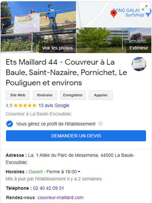 Page Google Business Couvreur Maillard